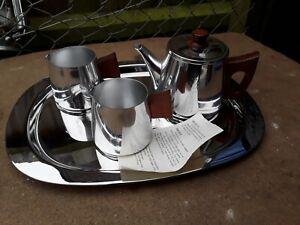 SONA Stainless Steel, Teak 1960's Tea Set. Teapot,  Milk Jug, x2.and tray.