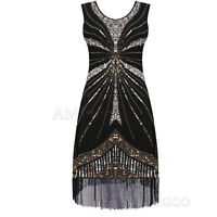 1920s Flapper Dress Gatsby Charleston Deco Sequin Fringe Vintage Party Costume