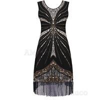 1920s Fancy Dress Sequin Fringe Great Gatsby Costume 20s Style Dresses Size 6-20