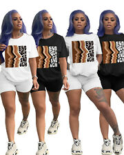 New Stylish Women Short Sleeves Printed O Neck Casual Short Jumpsuit 2pcs Sport