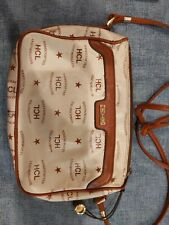 HCL Signature Leather Shoulder Bag Cream with brown trim