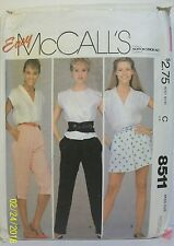 Easy McCall's Sewing Pattern 8511 Misses Sz M 14-16 Pants Shorts Knee 1983 Cut