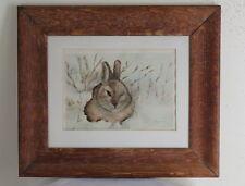 Old Signed Hagemann Original Folk-Art Watercolor Painting Wisconsin Bunny Child