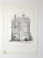 Lithographie XIXème - Clôture du Chœur de Ste Cécile d'Alby - Chapuy - T. Boys