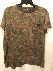 Vintage Ace Sportswear TreBark Camo Short Sleeve Pocket  T Shirt Made in USA