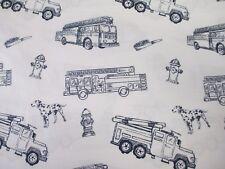 ENVOGUE Kids White Navy Blue Firetruck Hydrant Dog Sheet Set - Twin