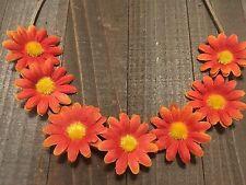 Handmade Orange Red Daisy Flower Tie Headband Rustic Country Wedding Bridesmaids