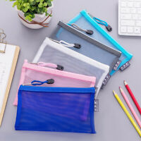 Mesh Zipper Storage Bag Pouch Pencil Case Cosmetic Bag Organizer Stationery Gift