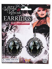 Halloween Gothic Witch Witches Cat Cameo Pierced Earrings Sorceress Fancy Dress