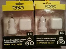 2 WOW TECHNOLOGIES POWER BOOSTER WALL AND CAR DUAL USB CHARGERS WHITE - NEW!