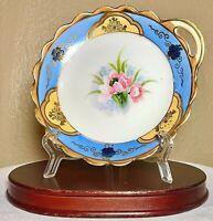 "Vintage Noritake Japan Hand Painted Handled Porcelain Nappy Dish Floral Gold 6"""