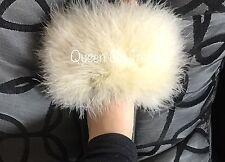 Womens Handmade Big Fluffy Fur Sliders Fur 3,4,5,6,7UK Light Natural Limited