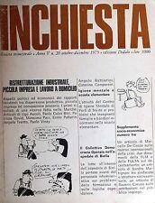 INCHIESTA  Anno V n.20  Ottobre Dicembre 1075  Edizioni Dedalo