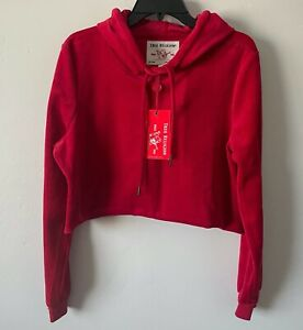 NWT True Religion Velour Crop Top Hoodie in Ruby Red Size L  $139