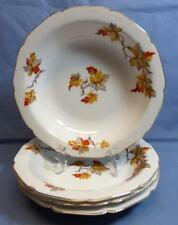 40s ALADDIN AUTUMN LEAF OCCUPIED JAPAN SET of 4 CEREAL/SOUP PLATES RARE PATTERN