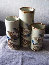 Set of 3 Graduated Pottery Floral Design Vases made in Japan, Asian Decor