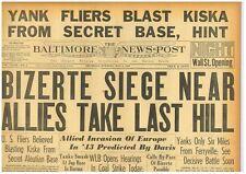 Bizerte Siege Allies take Hill Kiska Blasted by Yanks Secret Base May 6 1943 B10