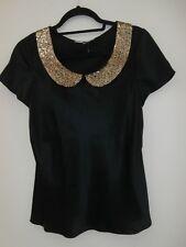 L.K Bennett women's size UK 8 black silk top
