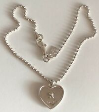 Signed Sterling Silver Coach Brand Heart Button Pendant with Chain Necklace
