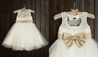 Lace Tulle Flower Girl Dress Keyhole Back Champagne Gold Sash Bow Dress Wedding