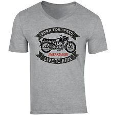 Moto Guzzi Ambassador-nuevo gris de algodón con cuello en V Camiseta