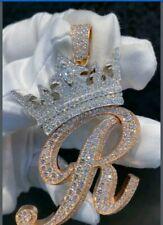 Men's 14k Rose Gold Plated Custom Initial R Crown Pendant in 1.5 ct Sim Diamond