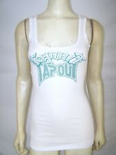 Tapout White Teal Ribbed Sleeveless Old English Tank Top Juniors Size Small 3 5