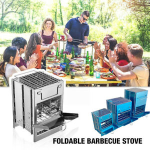 BBQ Camping Barbecue Grill Portable Folding Picnic Wood furnace Stainless Steel