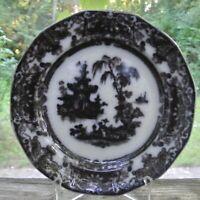 """Antique Flow Black  Podmore Walker & Co Corean Pearl Stoneware 9-3/4"""" Plate"""