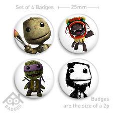"""Little BIG Planet SACKBOY PS3 1"""" Badges x4- Badge Set 2"""