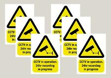 6 Mixed Warning CCTV stickers 100x150mm 3 window & 3 normal Free 1st class P&P