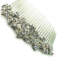 USA Hair Comb vintage Crystal Handmade Bridal wedding prom flower pin silver 05