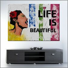 Banksy Respray Life is Beautiful Billie Holiday Street Art Painting 140cmx100cm