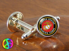 Mens US Marine Corps Military Cufflinks Cuff Links Groom Groomsmen Wedding Gift