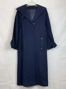 1960s Vintage Sears Fashions Womens Wool Long Pea Coat Blue Trench Peacoat