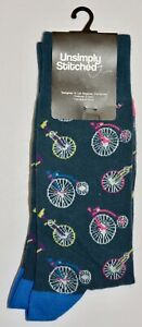 Unsimply Stitched Blue Bicycle Socks Size 8-12 Men's 8-13 Women's New