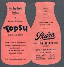 Original Antique 1930's Vancouver Canada Palm Dairies Advertising Needles Book