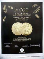 PUBLICITE-ADVERTISING :  MONNAIE DE PARIS Coq 1000 or  2015 Pièce