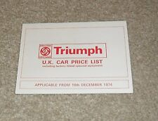 Triumph Range Price List 1974 Stag 2500 PI TC 2000 Dolomite Sprint TR6 Spitfire