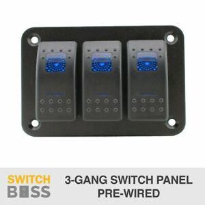 3 Gang Rocker Switch Panel - BLUE - PRE WIRED - LED 4x4 Boat Caravan Marine 12v