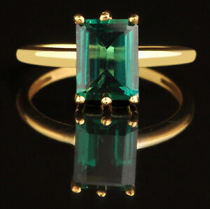 14KT Yellow Gold With 1.70Ct Octagon Cut Natural Zambian Emerald Solitaire Ring