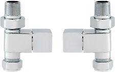 """Straight Quadrato Cromato Moderno Riscaldato Portasciugamani Radiatore Rad VALVOLE 15 MM X 1/2 """""""