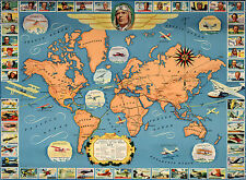 Early Pictorial Map Famous Flights & Air Routes of the World Wall Poster History