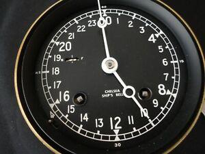 "CHELSEA SHIPS BELL 24 HOUR CLOCK 4"" Black DIAL 1981"