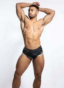 N2N Bodywear Men's Euro Split Short, M Black/White - NWT!
