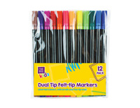 Dual Tip Felt Pens - 12 Pack Double Ended Thick & Thin Tip Coloring Markers