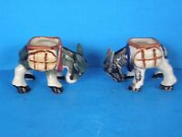 LOT OF 2 VINTAGE OCCUPIED JAPAN SMALL DONKEY PORCELAIN PLANTERS