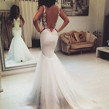 White Spaghetti Straps Backless Mermaid Wedding Dress Bridal Gown Custom Size