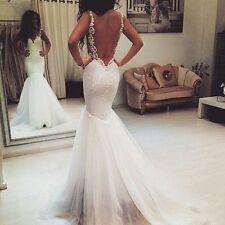 White Spaghetti Straps Backless Mermaid Wedding Dress Bridal Gown Custom Size
