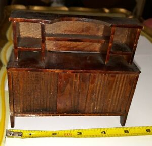 VINTAGE WOODEN GERMAN DOLLHOUSE MINIATURE DINING ROOM BUFFET FURNITURE